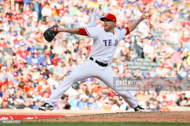 Texas Rangers Pitcher Jake Diekman comes on in relief during the baseball game between the Houston Astros and Texas Rangers on March 31 2018 at Globe...
