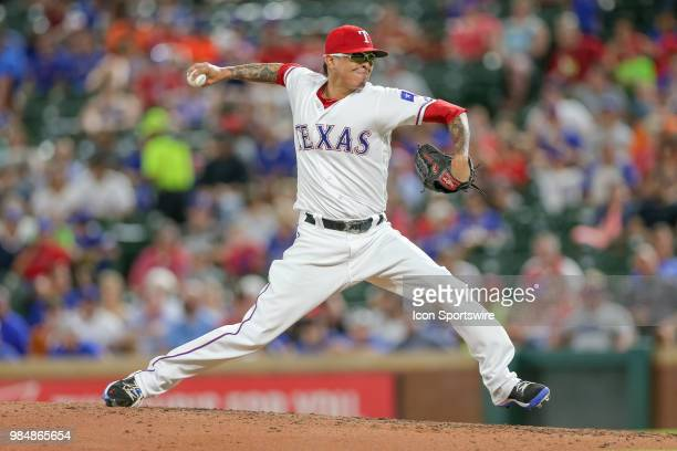 Texas Rangers Pitcher Jesse Chavez comes on in relief during the game between the San Diego Padres and Texas Rangers on June 26 2018 at Globe Life...
