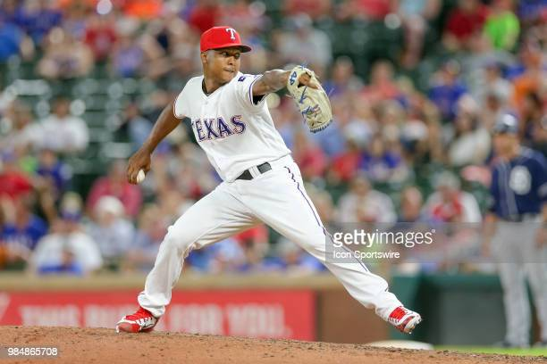 Texas Rangers Pitcher Jose Leclerc comes on in relief during the game between the San Diego Padres and Texas Rangers on June 26 2018 at Globe Life...