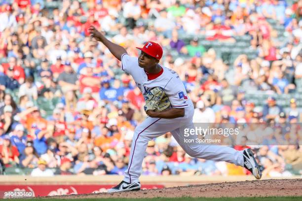 Texas Rangers Pitcher Jose Leclerc comes on in relief during the baseball game between the Houston Astros and Texas Rangers on March 31 2018 at Globe...