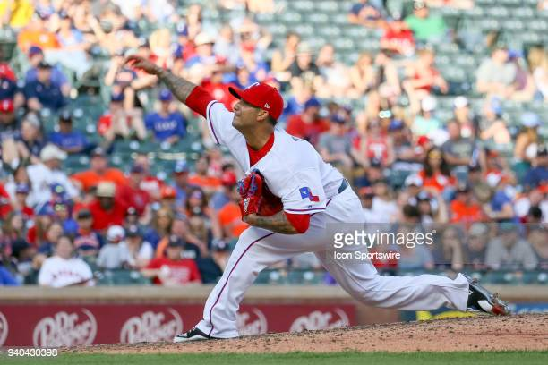 Texas Rangers Pitcher Matt Bush comes on in relief during the baseball game between the Houston Astros and Texas Rangers on March 31 2018 at Globe...