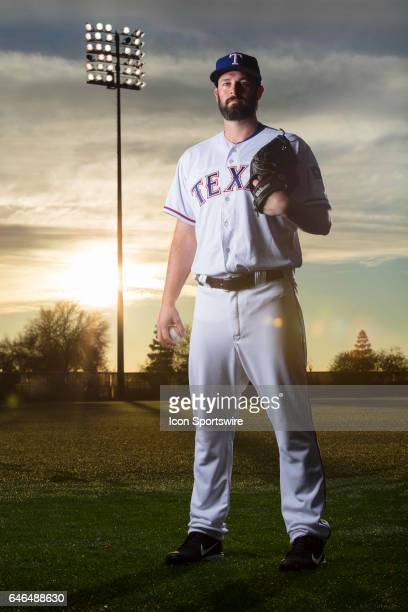 Texas Rangers pitcher Mike Hauschild poses for a photo during the Texas Rangers photo day on Feb 22 2017 at Surprise Stadium in Surprise Ariz