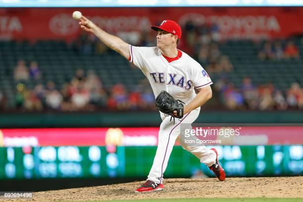Texas Rangers Pitcher Sam Dyson gives up the winning home run during extra innings of the MLB game between the Tampa Bay Rays and Texas Rangers on...