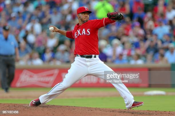 Texas Rangers Pitcher Yovani Gallardo throws during the game between the Chicago White Sox and Texas Rangers on June 29 2018 at Globe Life Park in...