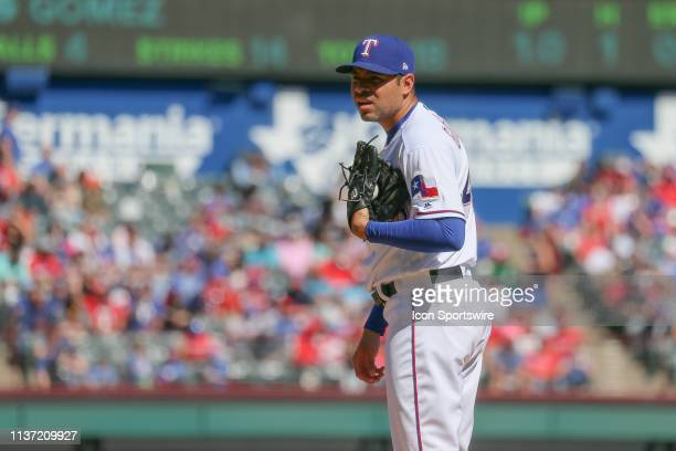 Texas Rangers relief pitcher Jeanmar Gomez looks on for the sign during the game between the Oakland Athletics and Texas Rangers on April 14 2019 at...