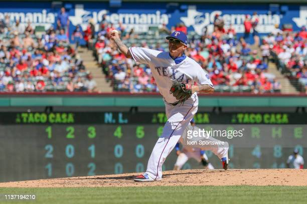 Texas Rangers relief pitcher Jesse Chavez throws a pitch during the game between the Oakland Athletics and Texas Rangers on April 14 2019 at Globe...