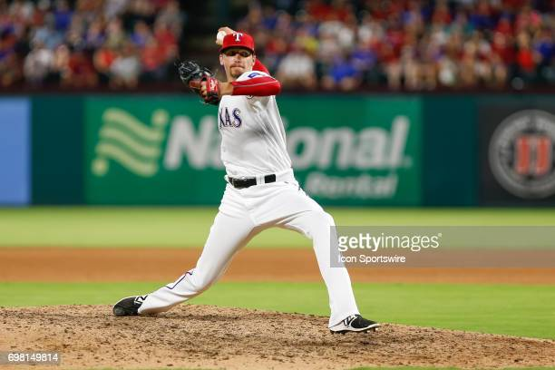 Texas Rangers relief pitcher Tanner Scheppers comes on to pitch during the MLB game between the Toronto Blue Jays and Texas Rangers on June 19 2017...