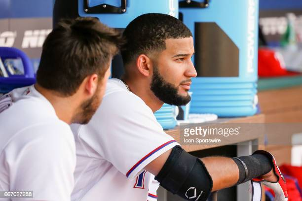 Texas Rangers Right field Nomar Mazara and Infield Joey Gallo talk in the dugout during the MLB baseball game between the Oakland Athletics and Texas...