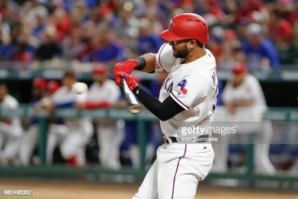 Texas Rangers Right field Nomar Mazara bats during the MLB game between the Oakland Athletics and Texas Rangers on May 12 2017 at Globe Life Park in...