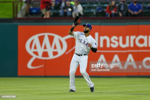 Texas Rangers Right field Nomar Mazara catches a fly ball during the game between the Los Angeles Angels and Texas Rangers on April 9 2018 at Globe...