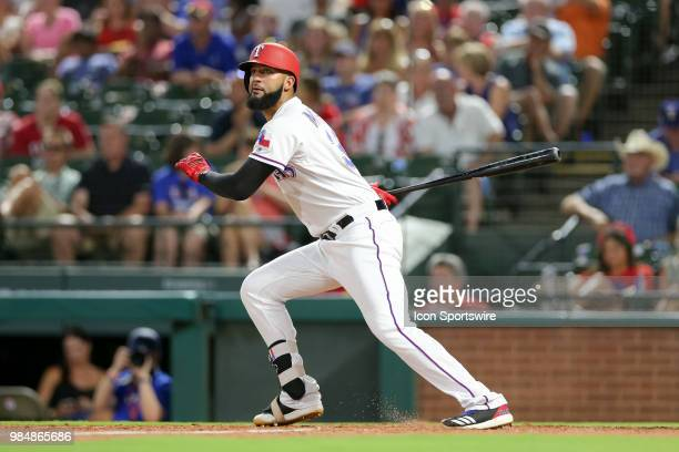 Texas Rangers Right field Nomar Mazara gets his third hit of the night during the game between the San Diego Padres and Texas Rangers on June 26 2018...