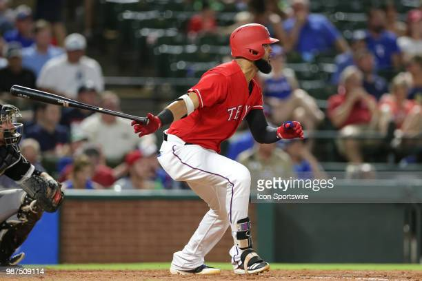 Texas Rangers Right field Nomar Mazara hits a double during the game between the Chicago White Sox and Texas Rangers on June 29 2018 at Globe Life...