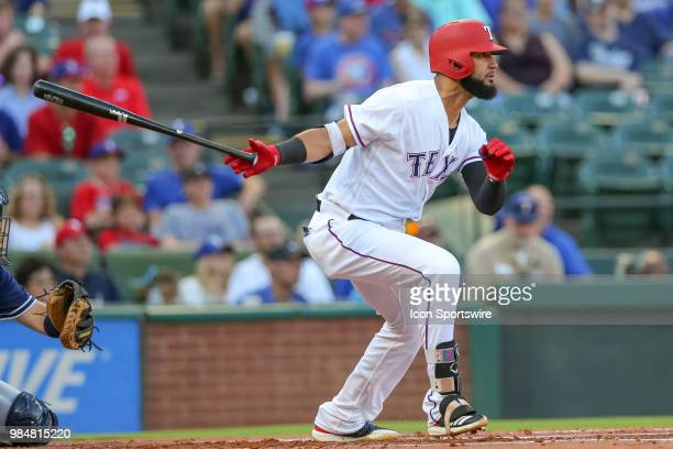 Texas Rangers Right field Nomar Mazara hits a single during the game between the San Diego Padres and Texas Rangers on June 26 2018 at Globe Life...