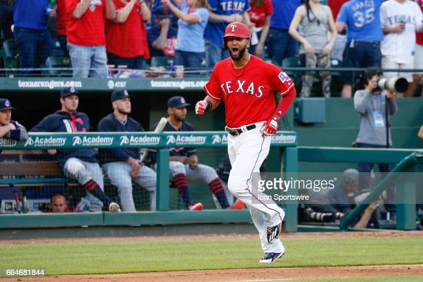 Texas Rangers Right field Nomar Mazara reacts after being driven in by a home run during the MLB opening day baseball game between the Texas Rangers...