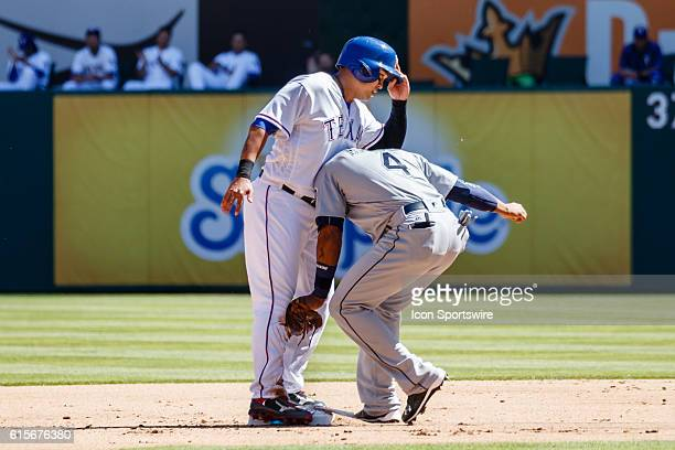 Texas Rangers Right field ShinSoo Choo [3192] and Seattle Mariners Shortstop Ketel Marte [10571] come together at second base during the MLB Opening...