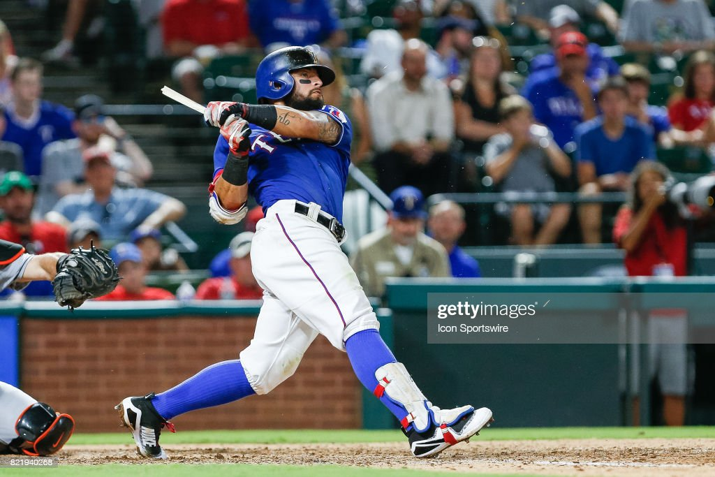 Texas Rangers Second base Rougned Odor (12) breaks his bat on a swing during the MLB game between the Miami Marlins and Texas Rangers on July 24, 2017 at Globe Life Park in Arlington, TX. Miami defeats Texas 4-0.