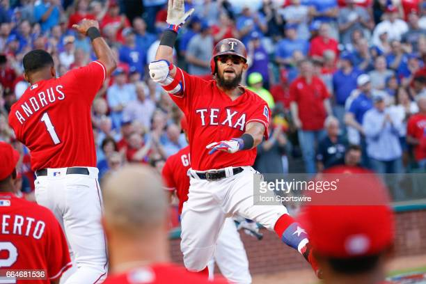 Texas Rangers Second base Rougned Odor celebrates with Shortstop Elvis Andrus after hitting a homerun during the MLB opening day baseball game...