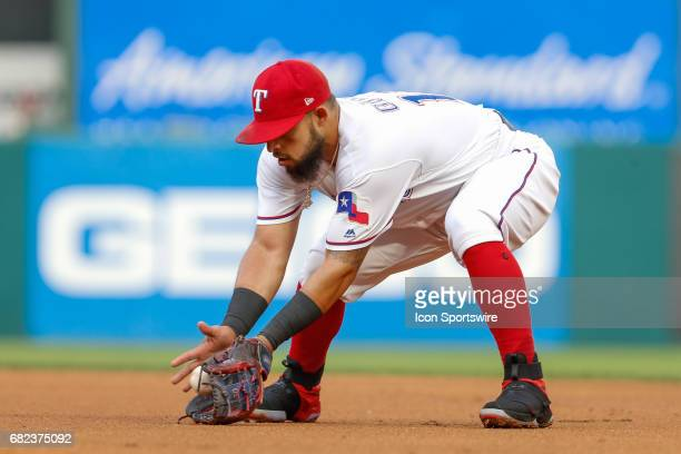 Texas Rangers Second base Rougned Odor fields a ground ball during the MLB game between the San Diego Padres and Texas Rangers on May 10 2017 at...