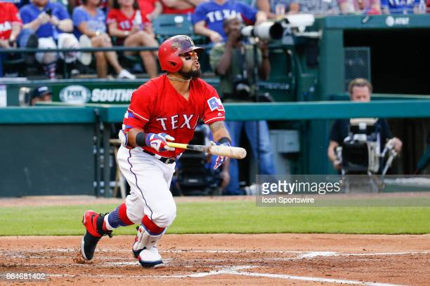 Texas Rangers Second base Rougned Odor looks up after hitting a homerun during the MLB opening day baseball game between the Texas Rangers and...