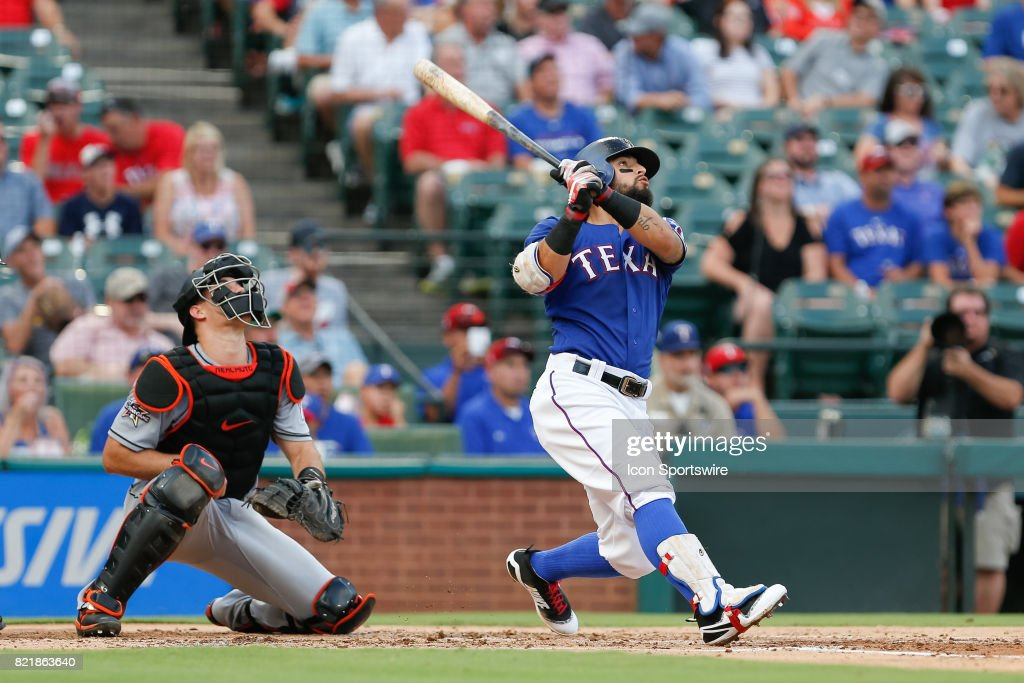 Texas Rangers Second base Rougned Odor (12) looks up at a deep fly ball during the MLB game between the Miami Marlins and Texas Rangers on July 24, 2017 at Globe Life Park in Arlington, TX.
