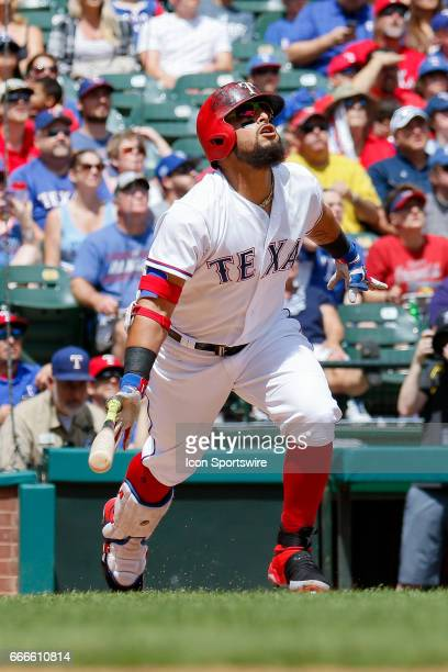 Texas Rangers Second base Rougned Odor looks up at a deep fly ball to right field during the MLB baseball game between the Oakland Athletics and...