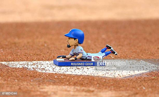 Texas Rangers second baseman Rougned Odor bobblehead before the MLB game between the Toronto Blue Jays and Texas Rangers at Globe Life Park in...