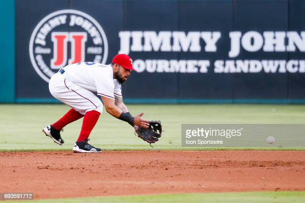 Texas Rangers second baseman Rougned Odor fields a ground ball during the MLB game between the New York Mets and Texas Rangers in June 72017 at Globe...