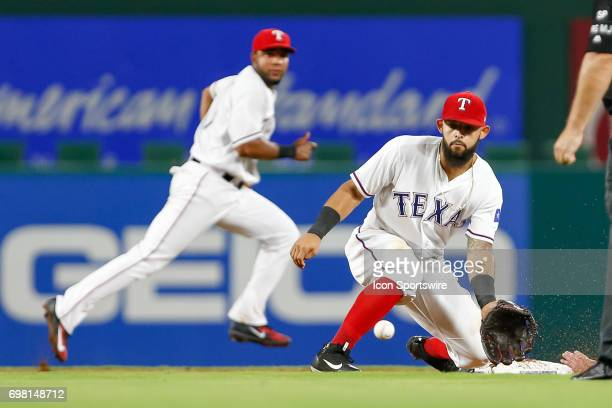 Texas Rangers second baseman Rougned Odor fields a throw during the MLB game between the Toronto Blue Jays and Texas Rangers on June 19 2017 at Globe...