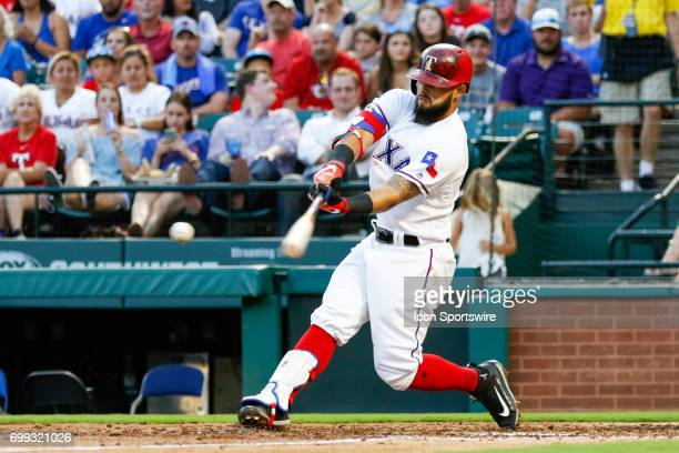 Texas Rangers second baseman Rougned Odor hits a pitch off the end of the bat during the MLB game between the Toronto Blue Jays and Texas Rangers on...