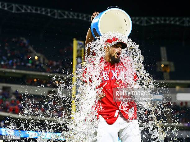 Texas Rangers second baseman Rougned Odor is showered after a 31 win against the Tampa Bay Rays at Globe Life Park in Arlington Texas on Friday Sept...