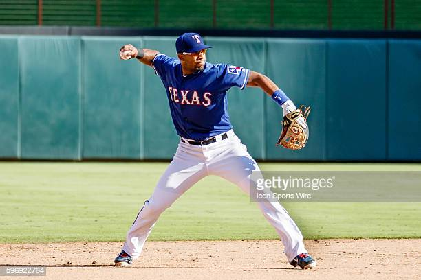 Texas Rangers Shortstop Elvis Andrus [6293] during the MLB game between the Los Angeles Angels of Anaheim and the Texas Rangers at Globe Life Park in...