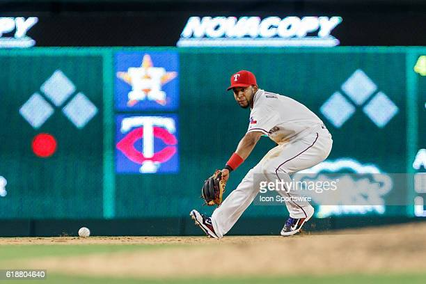 Texas Rangers Shortstop Elvis Andrus [6293] fields a ground ball during the MLB game between the Colorado Rockies and the Texas Rangers at Globe Life...
