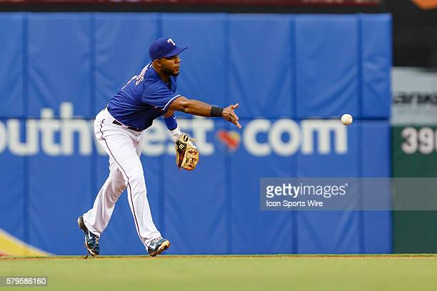 Texas Rangers Shortstop Elvis Andrus [6293] flips to second to start a double play during the MLB game between the Arizona Diamondbacks and the Texas...