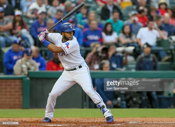 Texas Rangers Shortstop Elvis Andrus bats during the game between the Los Angeles Angels and Texas Rangers on April 9 2018 at Globe Life Park in...