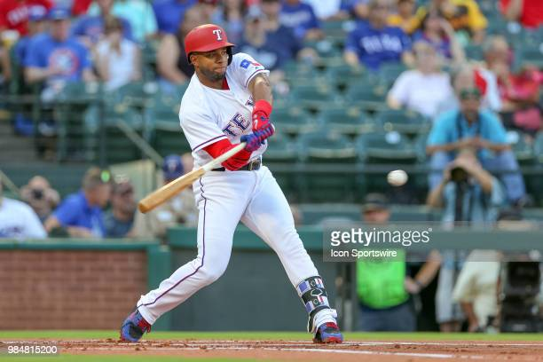 Texas Rangers Shortstop Elvis Andrus bats in the bottom of the first inning during the game between the San Diego Padres and Texas Rangers on June 26...