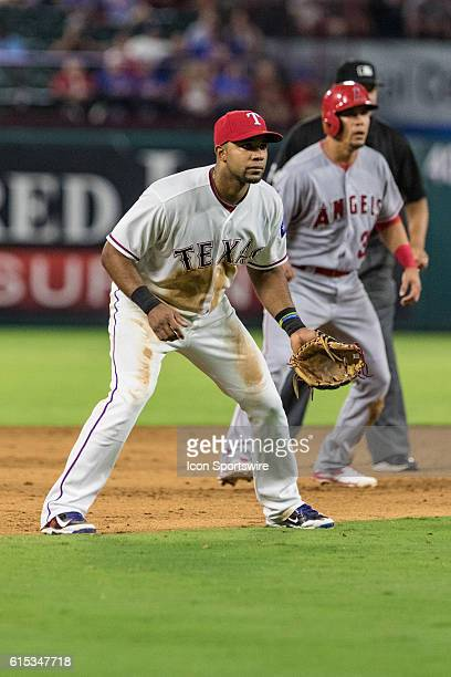 Texas Rangers shortstop Elvis Andrus during the game between the Texas Rangers and the Los Angeles Angels at Globe Life Park in Arlington Texas The...
