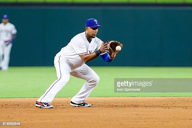 Texas Rangers shortstop Elvis Andrus fields a ground ball during the MLB game between the Cleveland Indians and the Texas Rangers at Globe Life Park...