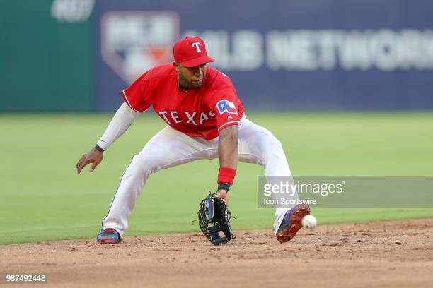 Texas Rangers Shortstop Elvis Andrus fields a ground ball during the game between the Chicago White Sox and Texas Rangers on June 29 2018 at Globe...