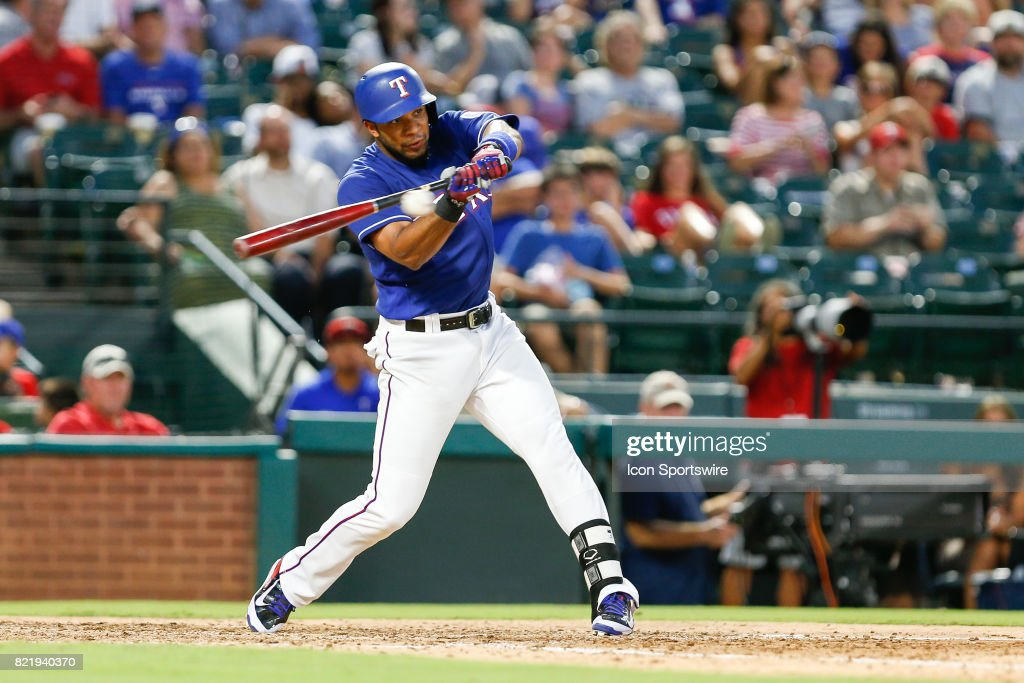 Texas Rangers Shortstop Elvis Andrus (1) fights off a high pitch during the MLB game between the Miami Marlins and Texas Rangers on July 24, 2017 at Globe Life Park in Arlington, TX. Miami defeats Texas 4-0.