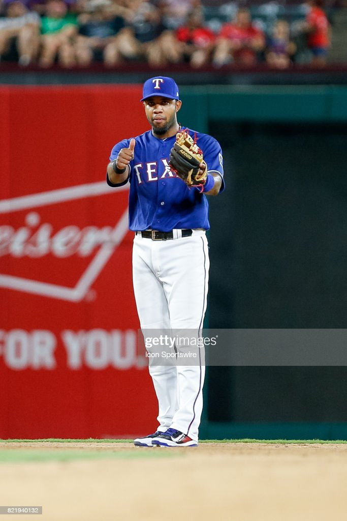 Texas Rangers Shortstop Elvis Andrus (1) gives the thumbs up during the MLB game between the Miami Marlins and Texas Rangers on July 24, 2017 at Globe Life Park in Arlington, TX. Miami defeats Texas 4-0.
