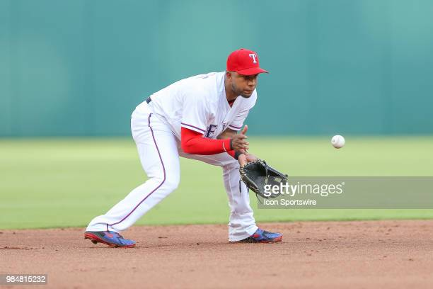 Texas Rangers Shortstop Elvis Andrus makes a play on a ground ball during the game between the San Diego Padres and Texas Rangers on June 26 2018 at...