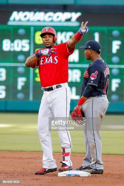 Texas Rangers Shortstop Elvis Andrus points at the dugout after hitting a double during the MLB opening day baseball game between the Texas Rangers...
