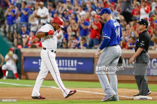 Texas Rangers shortstop Elvis Andrus reacts after hitting an RBI single during the MLB game between the Toronto Blue Jays and Texas Rangers on June...