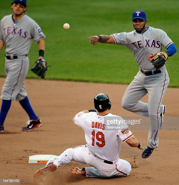 Texas Rangers shortstop Elvis Andrus right forces the Baltimore Orioles' Chris Davis at second base and throws to first to doubleup batter Mark...