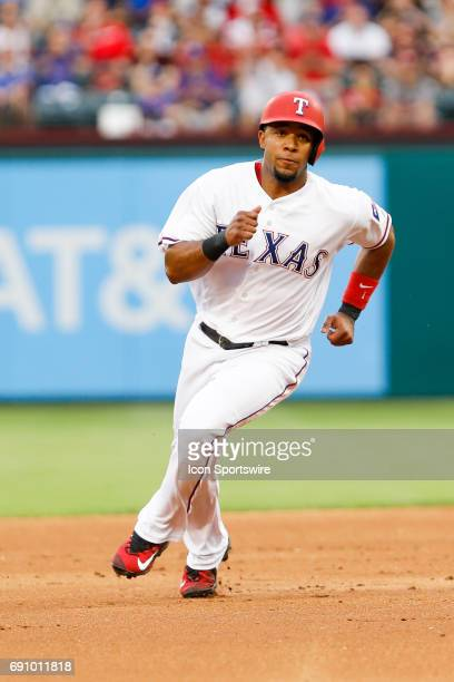 Texas Rangers Shortstop Elvis Andrus rounds second base during the MLB game between the Tampa Bay Rays and Texas Rangers on May 31 2017 at Globe Life...
