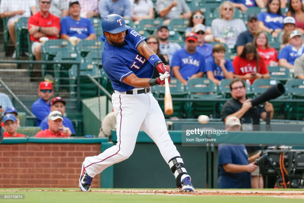Texas Rangers Shortstop Elvis Andrus (1) singles during the MLB game between the Miami Marlins and Texas Rangers on July 24, 2017 at Globe Life Park in Arlington, TX.