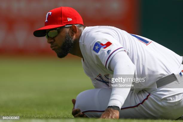 Texas Rangers Shortstop Elvis Andrus stretches prior to the baseball game between the Houston Astros and Texas Rangers on March 31 2018 at Globe Life...