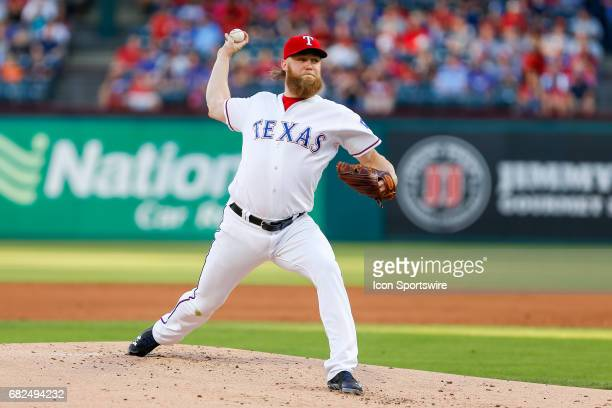 Texas Rangers Starting pitcher Andrew Cashner throws a pitch during the MLB game between the Oakland Athletics and Texas Rangers on May 12 2017 at...