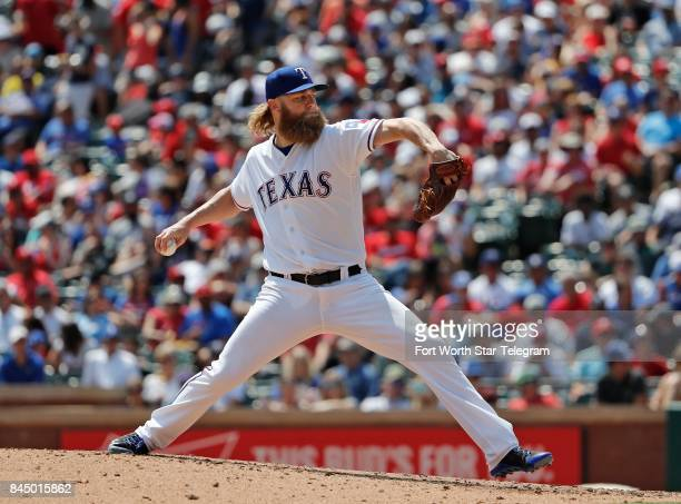Texas Rangers starting pitcher Andrew Cashner works in the fifth inning against the New York Yankees at Globe Life Park in Arlington Texas on...