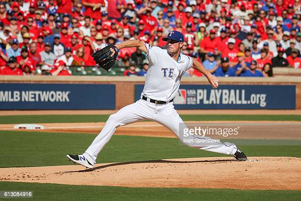 Texas Rangers starting pitcher Cole Hamels during game 1 of the ALDS between the Toronto Blue Jays and Texas Rangers at Globe Life Park in Arlington...